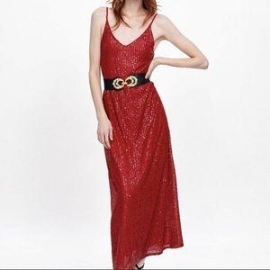 Zara long sequin dress red v neck adjustment strap